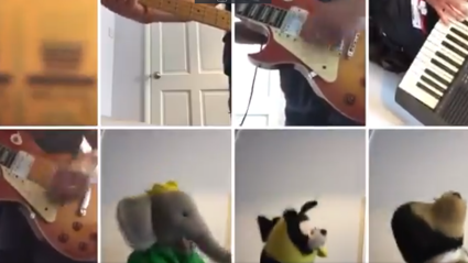Man performs amazing version of 'Good Times' with some cuddly guests!