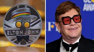 Elton John honoured with commerative coin from the Royal Mint