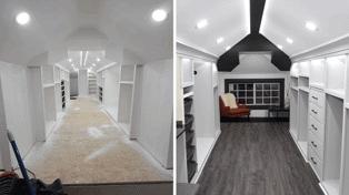 Man transforms his attic into amazing walk-in wardrobe for his wife