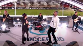 Robbie Williams performs new single with British band The Struts live as a hologram