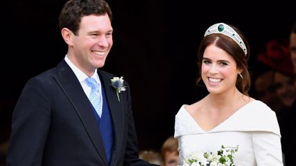 Princess Eugenie's wedding dress designer shares stunning never-before-seen photo of the couple