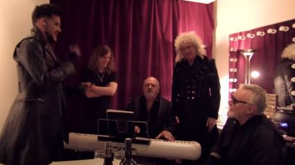 Queen and Adam Lambert share amazing private backstage video of them harmonising