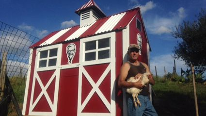 Jon Dunstan shows off the awesome KFC themed chicken coop he built