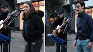 Street busker and random stranger wow crowd with beautiful Italian duet of Ed Sheeran's 'Perfect'